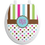 Stripes & Dots Toilet Seat Decal (Personalized)