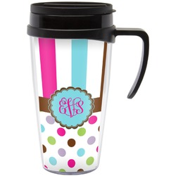 Stripes & Dots Travel Mug with Handle (Personalized)