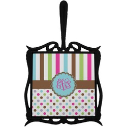 Stripes & Dots Trivet with Handle (Personalized)