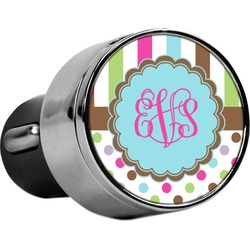 Stripes & Dots USB Car Charger (Personalized)