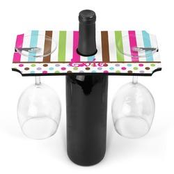 Stripes & Dots Wine Bottle & Glass Holder (Personalized)