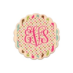 Stripes & Dots Genuine Wood Sticker (Personalized)