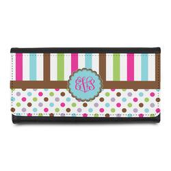 Stripes & Dots Leatherette Ladies Wallet (Personalized)