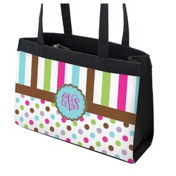 Stripes & Dots Zippered Everyday Tote (Personalized)