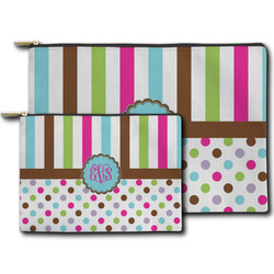 Stripes & Dots Zipper Pouch (Personalized)