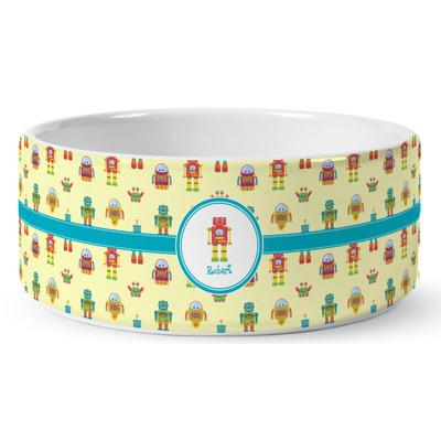 Robot Ceramic Dog Bowl (Personalized)