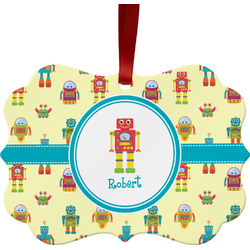 Robot Metal Frame Ornament - Double Sided w/ Name or Text