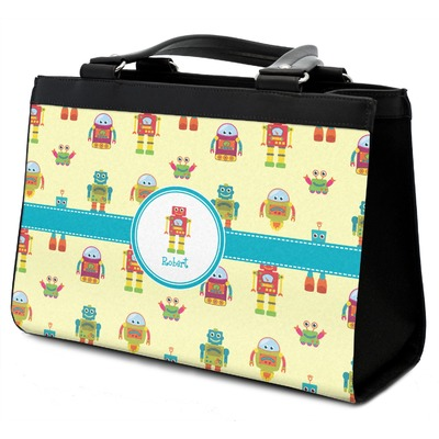 Robot Classic Tote Purse w/ Leather Trim w/ Name or Text