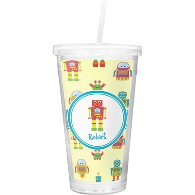 Robot Double Wall Tumbler with Straw (Personalized)