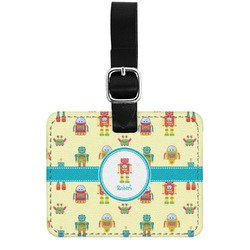 Robot Genuine Leather Rectangular  Luggage Tag (Personalized)