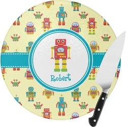 Robot Round Glass Cutting Board (Personalized)