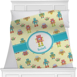 """Robot Fleece Blanket - Queen / King - 90""""x90"""" - Double Sided (Personalized)"""
