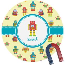 Robot Round Fridge Magnet (Personalized)