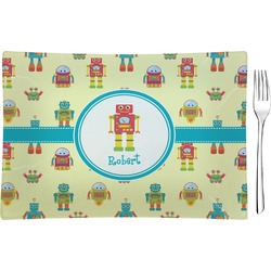 Robot Rectangular Glass Appetizer / Dessert Plate - Single or Set (Personalized)