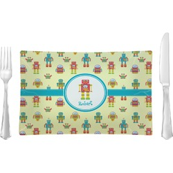 Robot Rectangular Glass Lunch / Dinner Plate - Single or Set (Personalized)