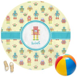 Robot Round Beach Towel (Personalized)