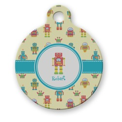Robot Round Pet ID Tag (Personalized)