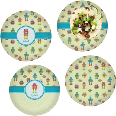 """Robot Set of 4 Glass Lunch / Dinner Plate 10"""" (Personalized)"""