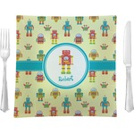 "Robot Glass Square Lunch / Dinner Plate 9.5"" - Single or Set of 4 (Personalized)"