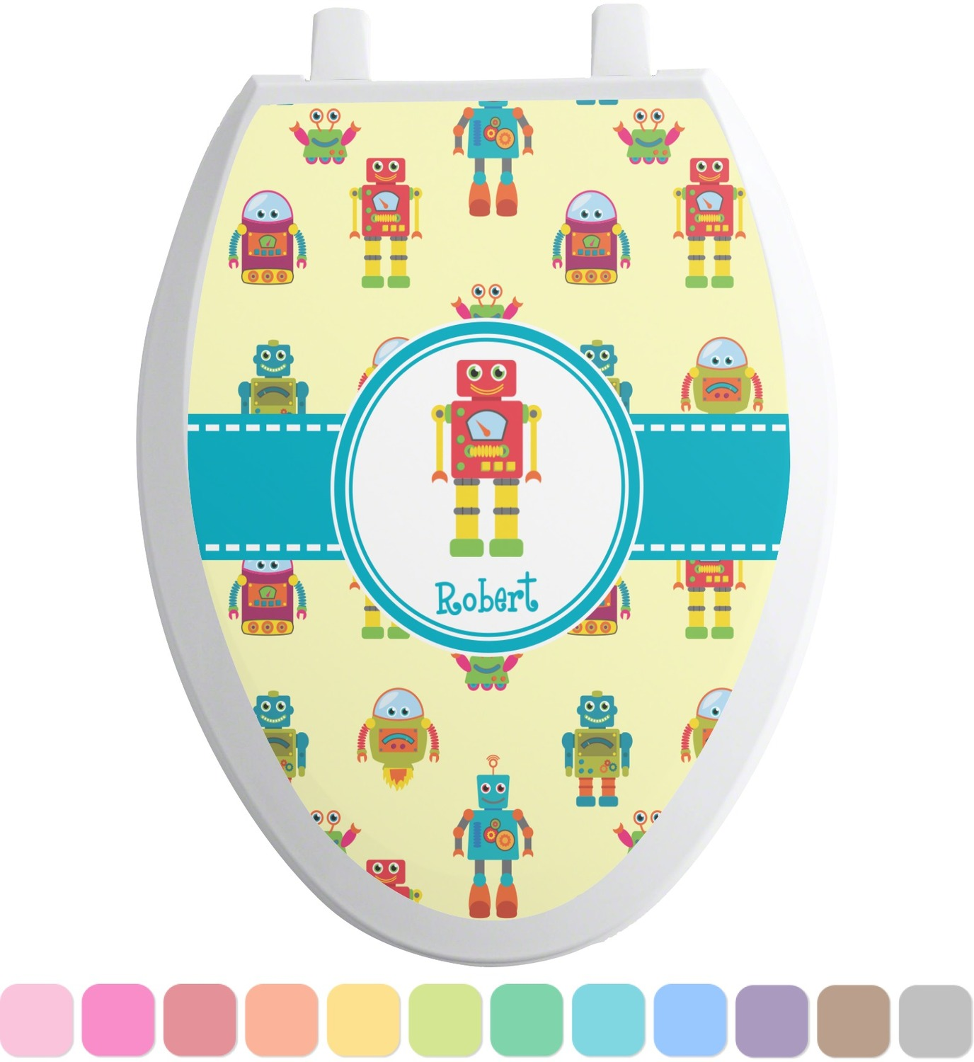 Robot toilet seat decal elongated personalized you customize it - Elongated toilet seat covers in some stunning patterns ...