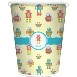 Robot Waste Basket - Double Sided (White) (Personalized)