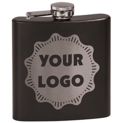 Logo & Company Name Black Flask Set (Personalized)