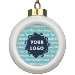 Logo & Company Name Ceramic Ball Ornament