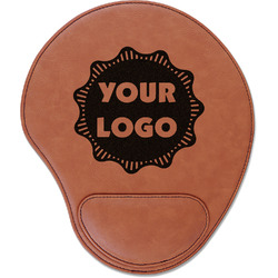 Logo & Company Name Leatherette Mouse Pad with Wrist Support (Personalized)