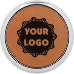 Logo & Company Name Leatherette Round Coaster w/ Silver Edge - Single or Set (Personalized)