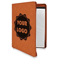 Logo & Company Name Leatherette Zipper Portfolio with Notepad (Personalized)