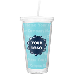 Logo & Company Name Double Wall Tumbler with Straw (Personalized)