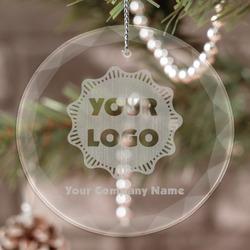 Logo & Company Name Engraved Glass Ornament