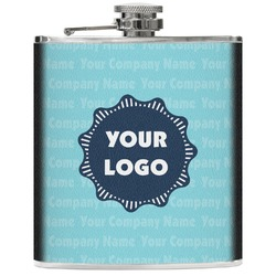 Logo & Company Name Genuine Leather Flask (Personalized)