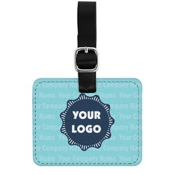 Logo & Company Name Genuine Leather Rectangular  Luggage Tag (Personalized)