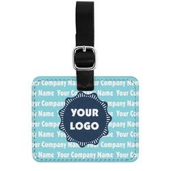 Logo & Company Name Genuine Leather Rectangular  Luggage Tag (Personalized)