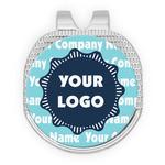 Logo & Company Name Golf Ball Marker - Hat Clip - Silver