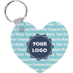 Logo & Company Name Heart Plastic Keychain