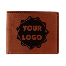 Logo & Company Name Leatherette Bifold Wallet - Double Sided (Personalized)