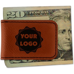 Logo & Company Name Leatherette Magnetic Money Clip (Personalized)