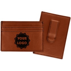 Logo & Company Name Leatherette Wallet with Money Clip (Personalized)