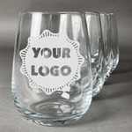 Logo & Company Name Stemless Wine Glasses (Set of 4) (Personalized)