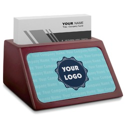 Logo & Company Name Red Mahogany Business Card Holder (Personalized)