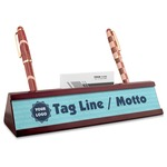 Logo & Company Name Red Mahogany Nameplate with Business Card Holder (Personalized)