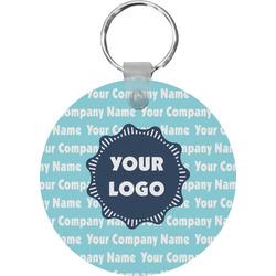 Logo & Company Name Round Plastic Keychain