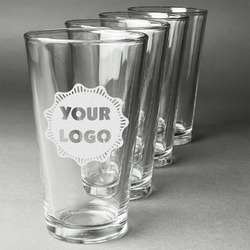 Logo & Company Name Beer Glasses (Set of 4) (Personalized)