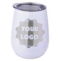 Logo & Company Name Stemless Wine Tumbler - 5 Color Choices - Stainless Steel  (Personalized)