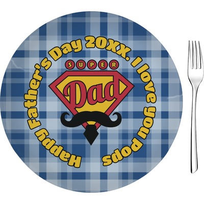 """Hipster Dad 8"""" Glass Appetizer / Dessert Plates - Single or Set (Personalized)"""