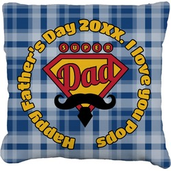 """Hipster Dad Faux-Linen Throw Pillow 16"""" (Personalized)"""