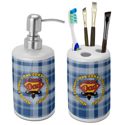 Hipster Dad Bathroom Accessories Set (Ceramic) (Personalized)