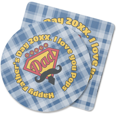 Hipster Dad Rubber Backed Coaster (Personalized)